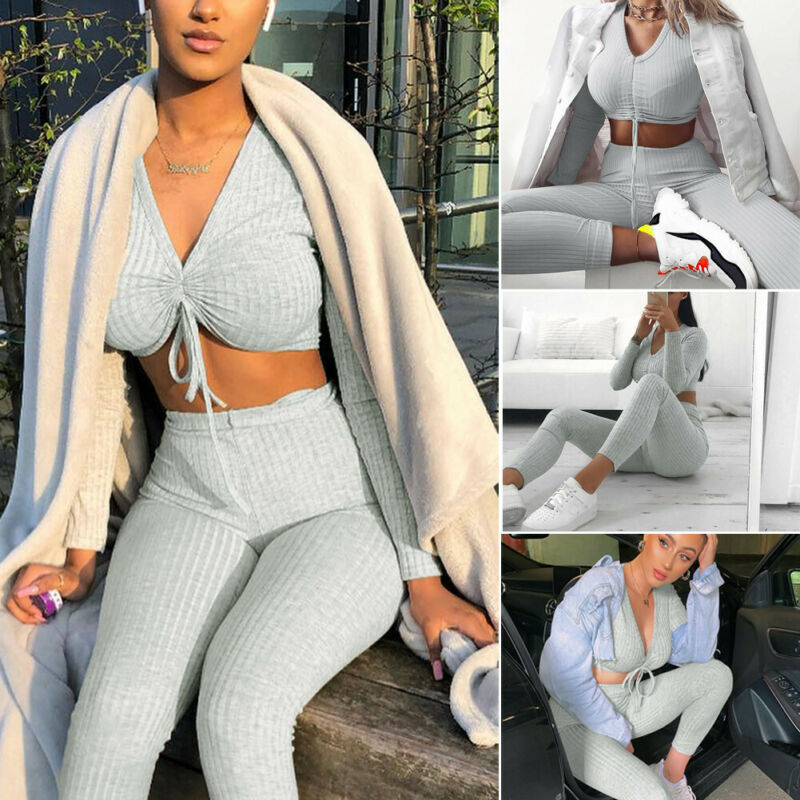 Women Clothes Set Knitted Solid Color Long Sleeve V Neck Ruched Drawstring Slim Cropped Tops High Waist Pants Lounge Wear Suit