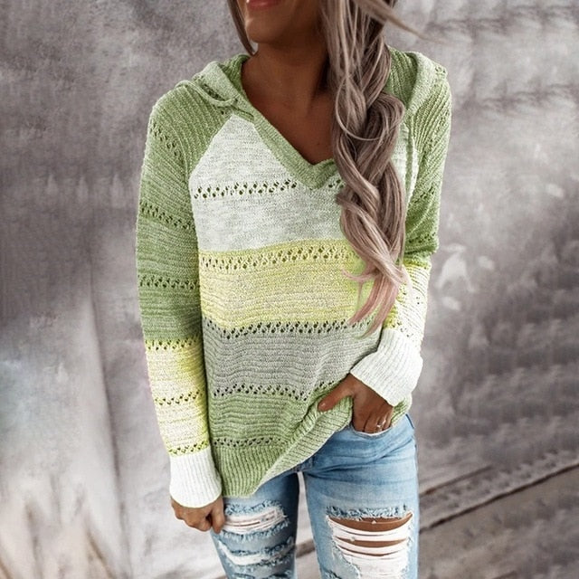 Women Knitted Hoodies Autumn Striped Hooded Sweatshirt Casual Patchwork V-Neck Long Sleeve Plus Size Female Hoody Pullover Tops