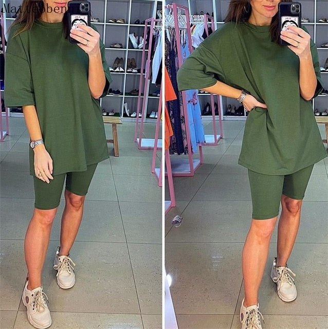 Women Fashion Casual Solid Two Piece Suit Including Belt New Home loose Tops And Shorts Suit 2020 Summer Tracksuit Lounge Wear