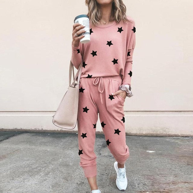 Piece Set Tracksuit Women Five-pointed Star Two Piece Set Top And Pants Femme Clothes Elastic Waist Long Pants Set Lounge Wear
