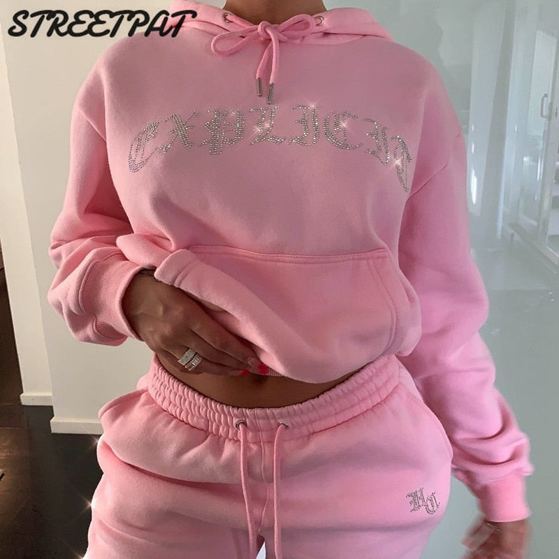 Tracksuit 2 Piece Women Set Oversize Hoodies Sweatshirt Loose Sweatpants Joggers Sport Suit Women Outfits Sweatsuit