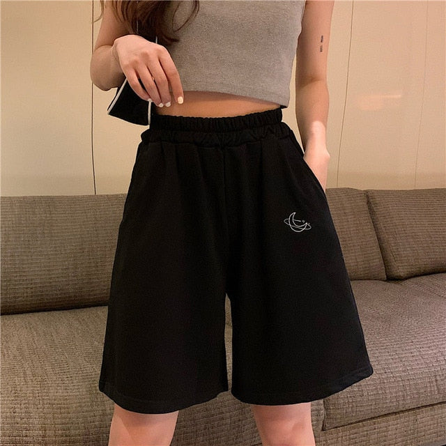 Elastic Waist Casual Beach Party Korean version clothing size High waist Moon embroidery movement shorts women Summer