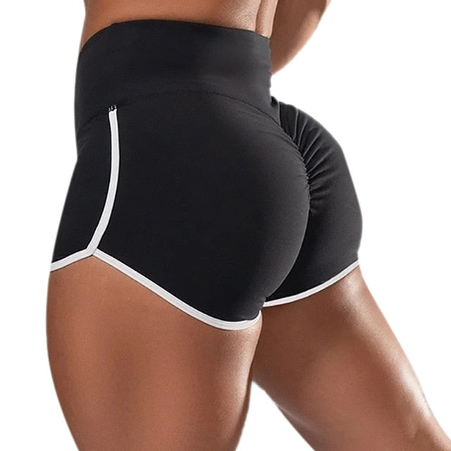 Women Sports Shorts Summer Running Sexy Leggings High Waist Short Pants Fitness Jogging Clothing Black