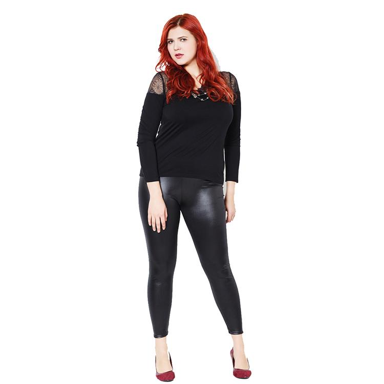 Plus Size Faux Leather Leggings - Black Shiny Slims - Love For Leggings