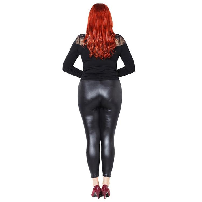 Plus Size Faux Leather Leggings - Black Shiny Slims