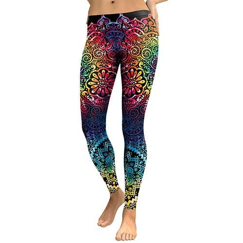 Flower Print - High Waist Slim Leggings - Love For Leggings