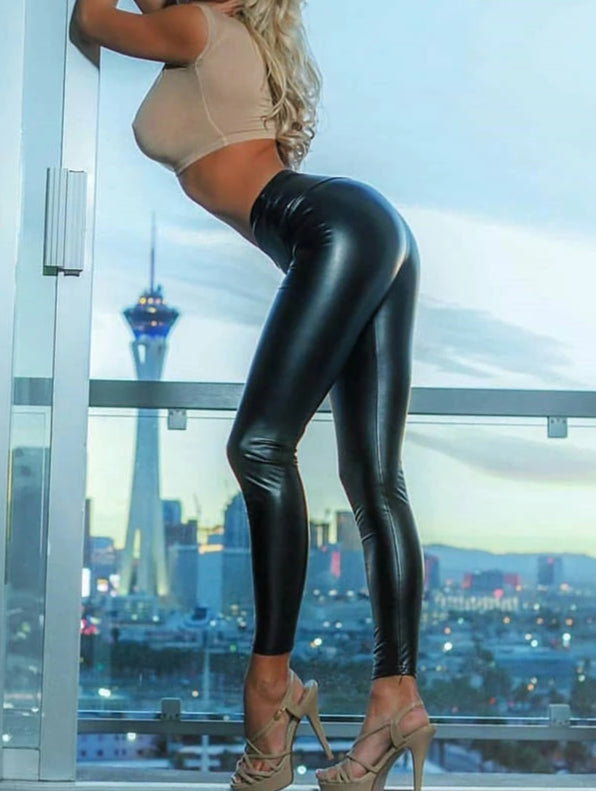 Black Summer PU Leather Leggings - Love For Leggings
