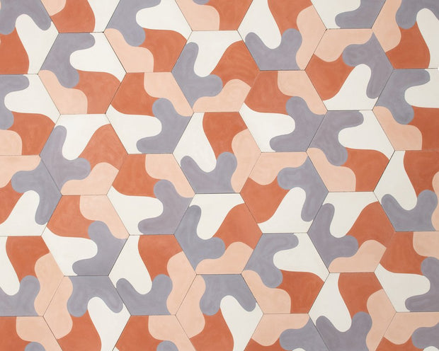 White - Terra Cotta - Cement Hex Tile