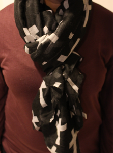 Black and White Cross Scarf