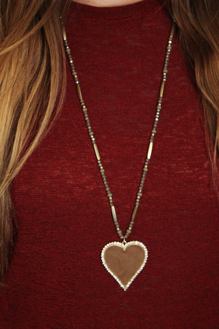 Brown Leather Heart Pendant Necklace