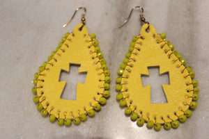 Leather Cross Cutout Earring