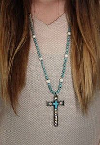 Marbled Turquoise Beaded Necklace