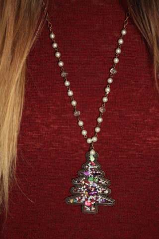 Multi-Colored Christmas Tree Necklace