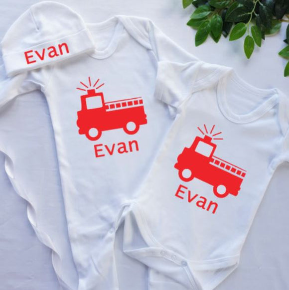 Fire Engine Personalised Baby Clothing