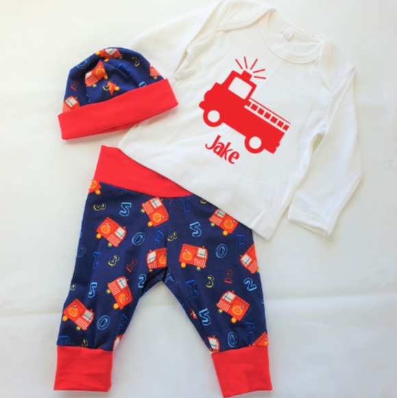 Personalised Boys Fire Engine Set