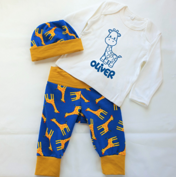 Personalised Boys Giraffe Set