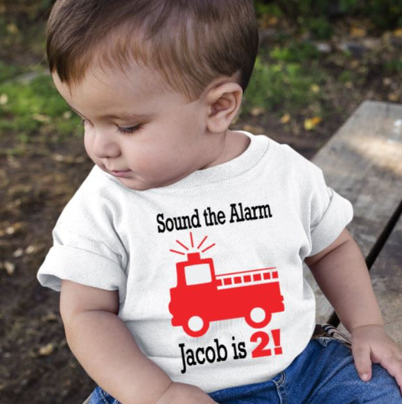 Personalised Birthday Tshirt Fire Engine