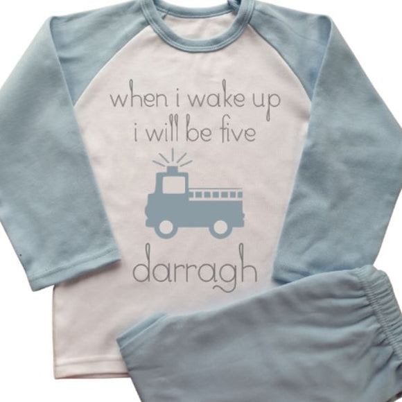 Fire Engine Personalised Pyjamas