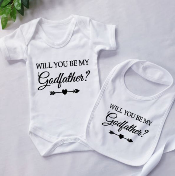 Will You Be My Godfather Personalised Baby Clothing