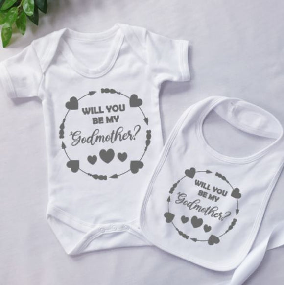 Will You Be My Godmother Personalised Baby Clothing