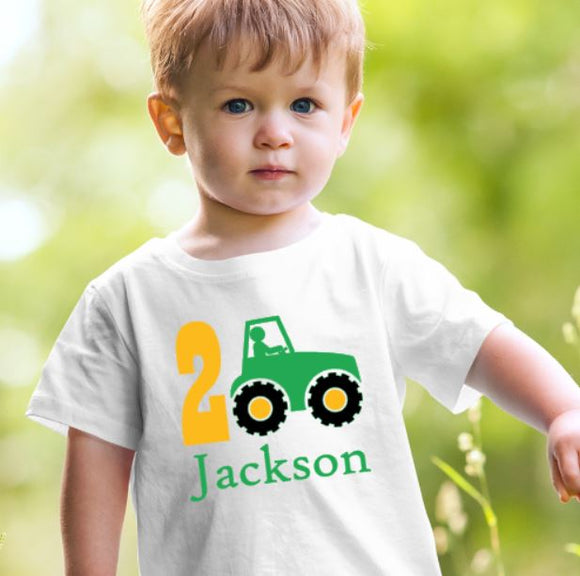 Personalised Birthday Tshirt Tractor