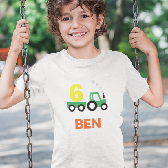 Tractor Personalised Birthday Tshirt