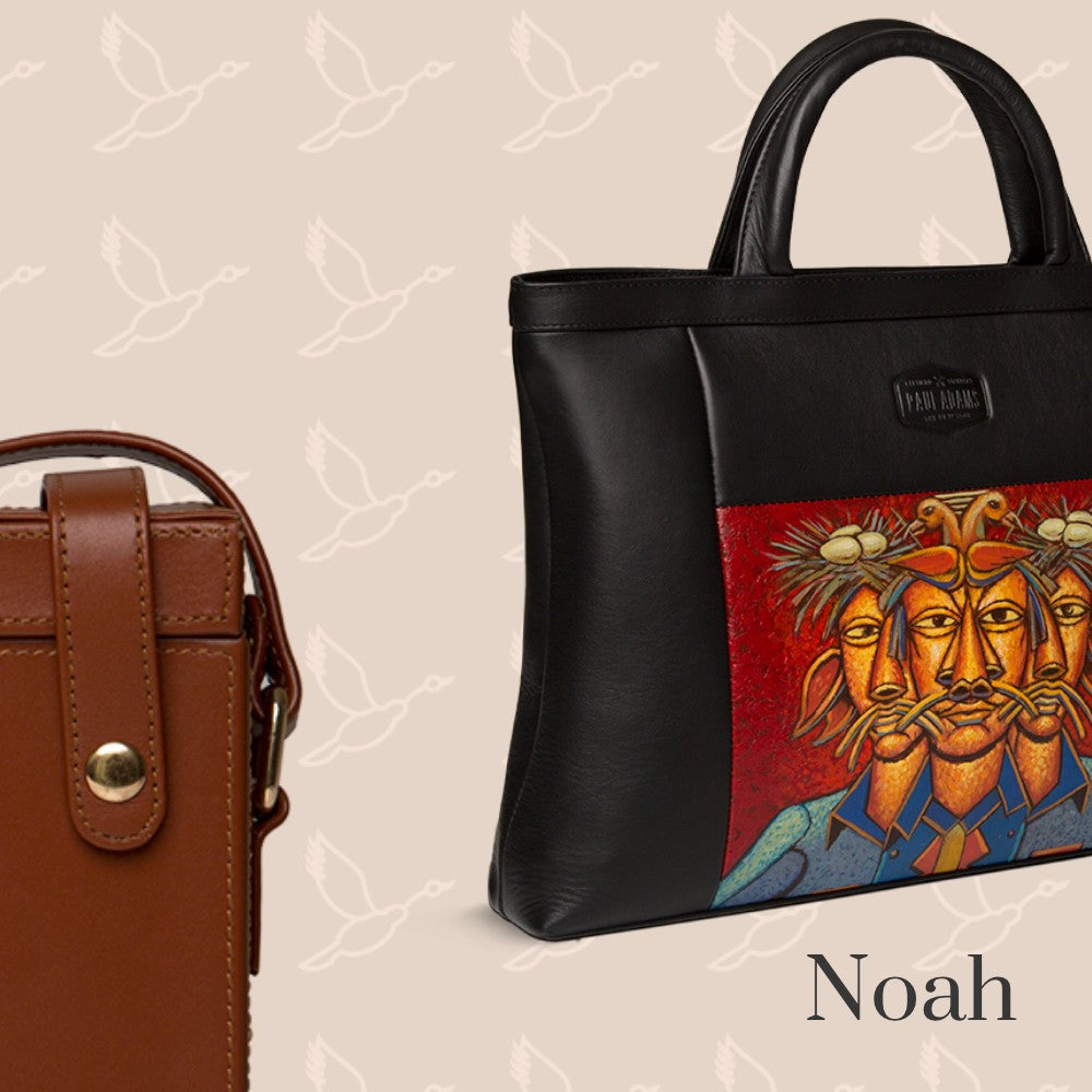 Noah document case in pure leather with original hand-painted art on canvas. Shop luxury bags online at the world of Paul Adams.