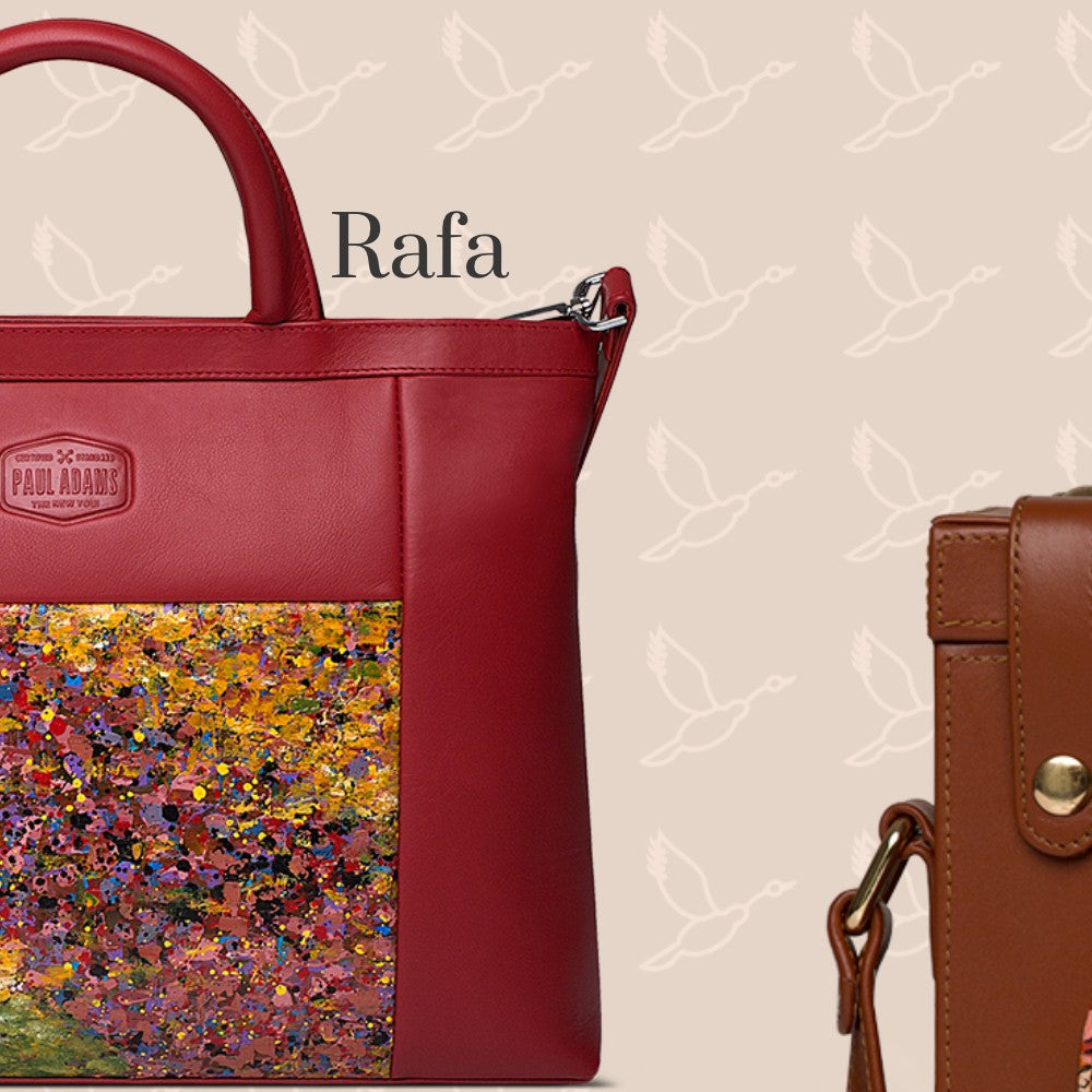 Rafa leather document case with original hand-painted art on canvas. Shop luxury bags online at Paul Adams world.