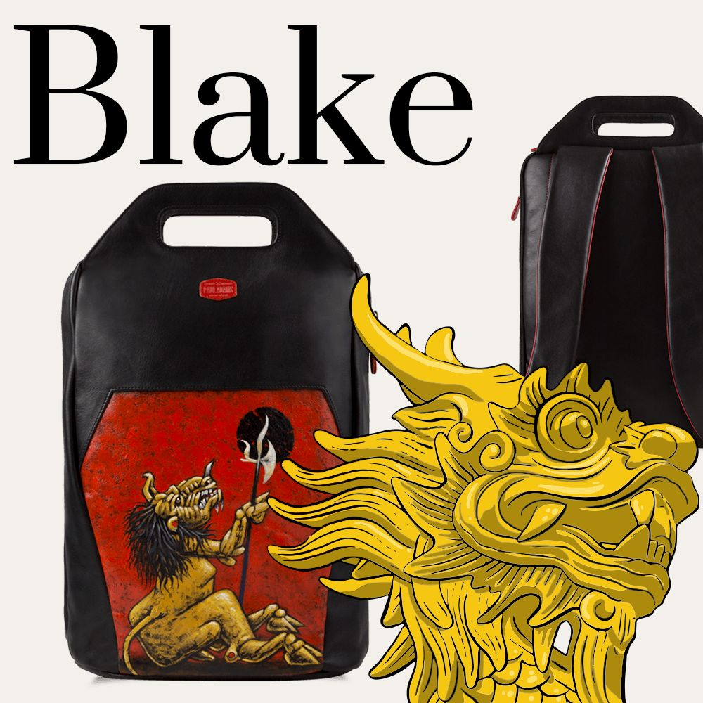 Blake leather backpack for men with original hand-painted art on canvas. Shop online at Paul Adams world.