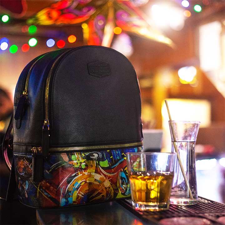 Apollo Mini Backpack with hand painted art influenced by jazz.