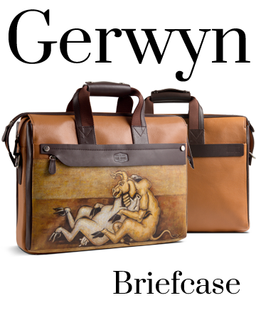 The Gerwyn Full Grain leather briefcase with handpainted art. Waterproof, Dustproof and UV protected Canvas. Canvas.