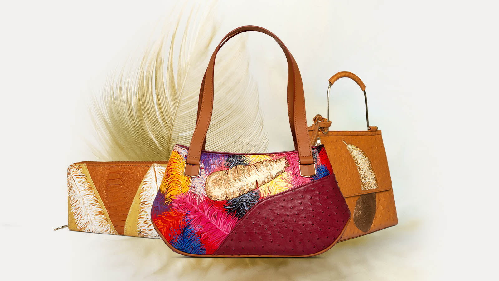 Original Ostrich Leather Bag collection for Women with hand painted artworks and metal carving