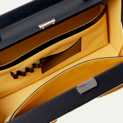 Office briefcase with soft Napa leather intereriors in yellow. Shop at Paul Adams world.