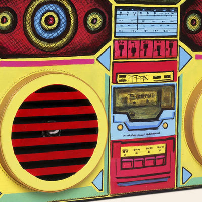 Boombox handpainted with vibrant pop colors by Paul Adams