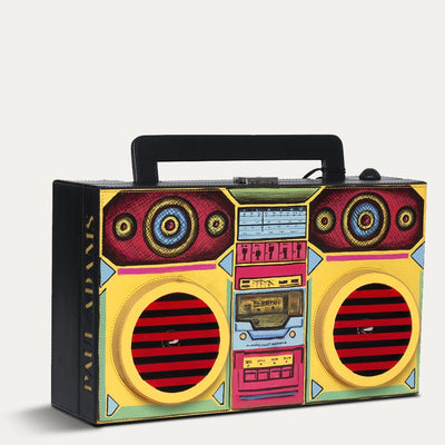 Boombox Briefcase briefcase available in Charcoal black leather tone at the world of Paul Adams.