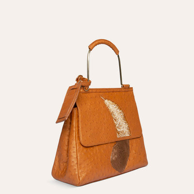 Opal Handbag in Original Ostrich Leather by Paul Adams