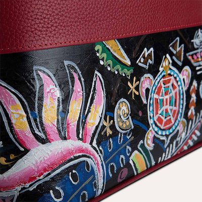Aloha luxury handbag with original hand-painted art on canvas. Available at Paul Adams.