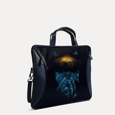 Amos designer portfolio bag with original hand-painted Contemporary art on canvas. Available at Paul Adams world.