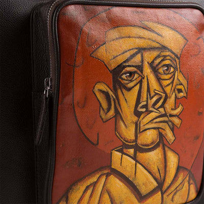 Boman luxury briefcase with original hand-painted Cubist art on canvas. Shop at Paul Adams world.
