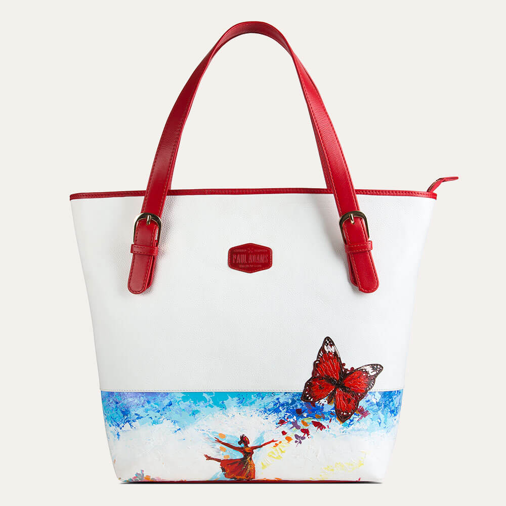 Dione tote bag for office and travel for women with hand-painted art. Available at Paul Adams.