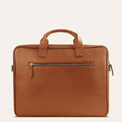 Ekon Pure Leather Laptop Bag for Men in Dark Almond Tan Color | Visit at www.pauladamsworld.com
