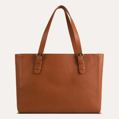 Emma laptop bag in textured full-grain leather for women. Available at Paul Adams.