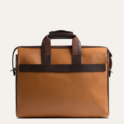 Gerwyn leather briefcase in textured full-grain leather. Shop at pauladamsworld.com.