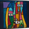 Kara luxury wallet for women with original hand-painted Cubist art on canvas. Available at Paul Adams.
