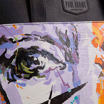 Laura luxury handbag for women with original hand-painted Abstraction art on canvas. Shop at pauladamsworld.com