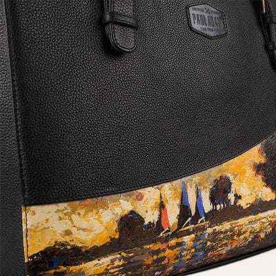 Luna leather laptop bag with original hand-painted Expressionist art on canvas. Available at Paul Adams world.