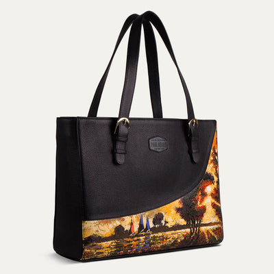 Luna laptop bag for women in Cat Pebble Black for office use. Available at pauladamsworld.com