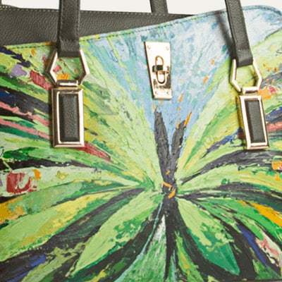 Original hand-painted Abstraction art on canvas. Matilda 1.0 handbag for women in Cactus Green available at the world of Paul Adams.