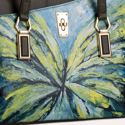 Original hand-painted Abstraction art on canvas. Matilda 2.0 handbag for women in Cactus green. Available at pauladamsworld.com.
