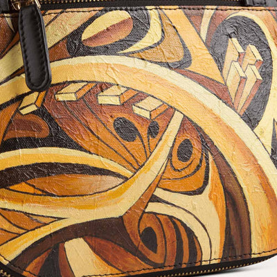 Maya sling bag for women with original hand-painted Futurist art on canvas. Available at the world of Paul Adams.